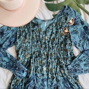 Free People Lucky Loosey Blue Tunic Dress